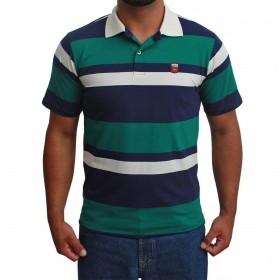 Camiseta Polo Os Vaqueiros Listrada Verde E Azul