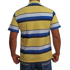 Camiseta Polo Os Vaqueiros Masculina Listrada Amarela