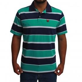 Camiseta Polo Os Vaqueiros Masculina Listrada Azul E Turquesa