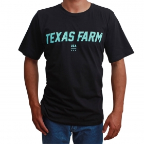 Camiseta Texas Farm Masculina Preta Logo Turquesa