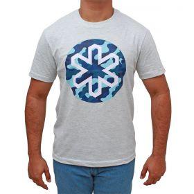 Camiseta Tuff Masculina Cinza Logo Camuflado Azul