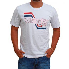 Camiseta Wrangler Masculina Branca Logo Vermelho