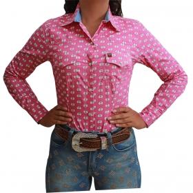 Camisete Os Vaqueiros Rosa De Coração Manga Longa