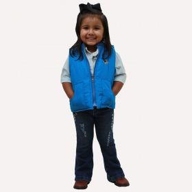 Colete Ride Horse Infantil Dupla Face Azul e Xadrez