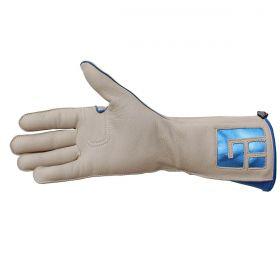 Luva De Montaria Guilherme Marchi Mão Direita Bege Logo Azul