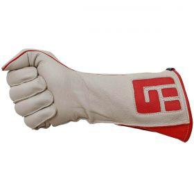 Luva De Montaria Guilherme Marchi Mão Direita Bege Logo Vermelho