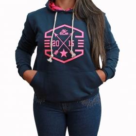 Moletom 2K Jeans Feminino Azul Marinho Com Estampa Rosa