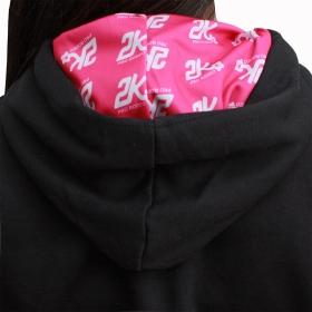 Moletom 2K Jeans Feminino Preto Com Bordado Rosa
