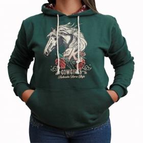 Moletom 2K Jeans Feminino Verde Com Estampa De Cavalo
