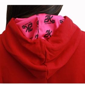 Moletom 2K Jeans Feminino Vermelho Com Aplique Rosa