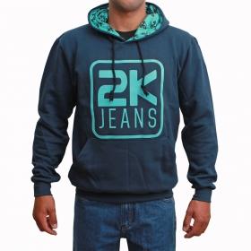 Moletom 2K Jeans Masculino Azul Marinho Logo Azul