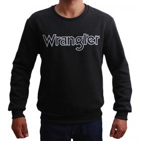 Moletom Wrangler Masculino Preto Com Logo Branco