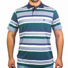 Camiseta Polo Tuff Masculina Listrada Azul E Verde