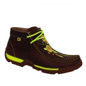 1cf7847a8220b Sapato Goyazes Destroyer Feminino Marrom Com Verde Neon