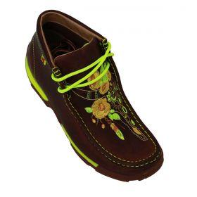 Sapato Goyazes Destroyer Feminino Marrom Com Verde Neon