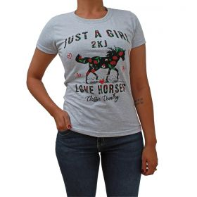 T-Shirt 2K Jeans Love Horse Cinza