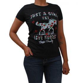 T-Shirt 2K Jeans Love Horse Preta