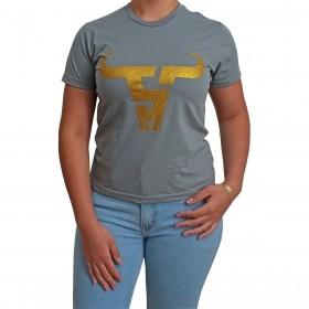 T-Shirt Feminina Smith Brothers Cinza Logo Dourado