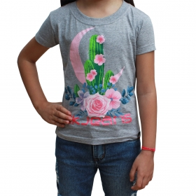 T-Shirt Infantil 2K Jeans Cinza Com Cacto