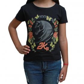 T-Shirt Infantil 2K Jeans Preta De Borboleta