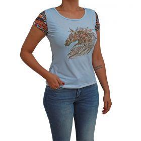 T-Shirt Ride Horse Feminina Azul