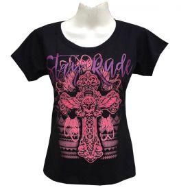 T-Shirt Stayrude Feminina Preta Cruz Rosa