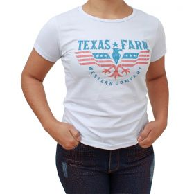 T Shirt Texas Farm Branca Estampada
