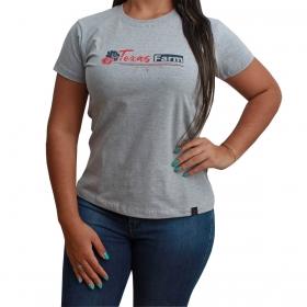 T-Shirt Texas Farm Cinza Com Logo Vermelho