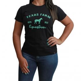 T-Shirt Texas Farm Preta Logo Turquesa