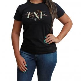 T-Shirt Texas Farm Preta TXF Cavalo Laranja