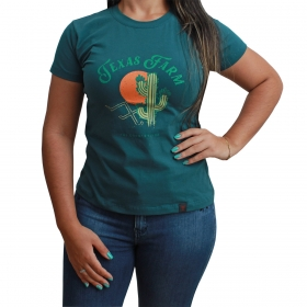 T-Shirt Texas Farm Verde Com Estampa De Cactos