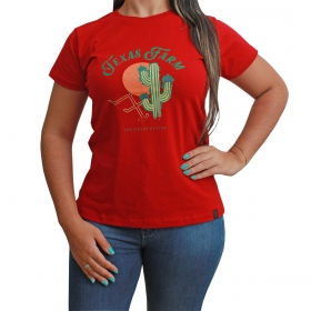 T-Shirt Texas Farm Vermelha Com Cacto