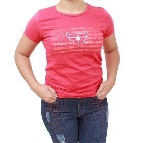 T Shirt Texas Farm Vermelha Logo Prata