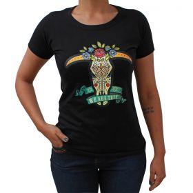 T-Shirt Tuff Preto Bull Skull Flower