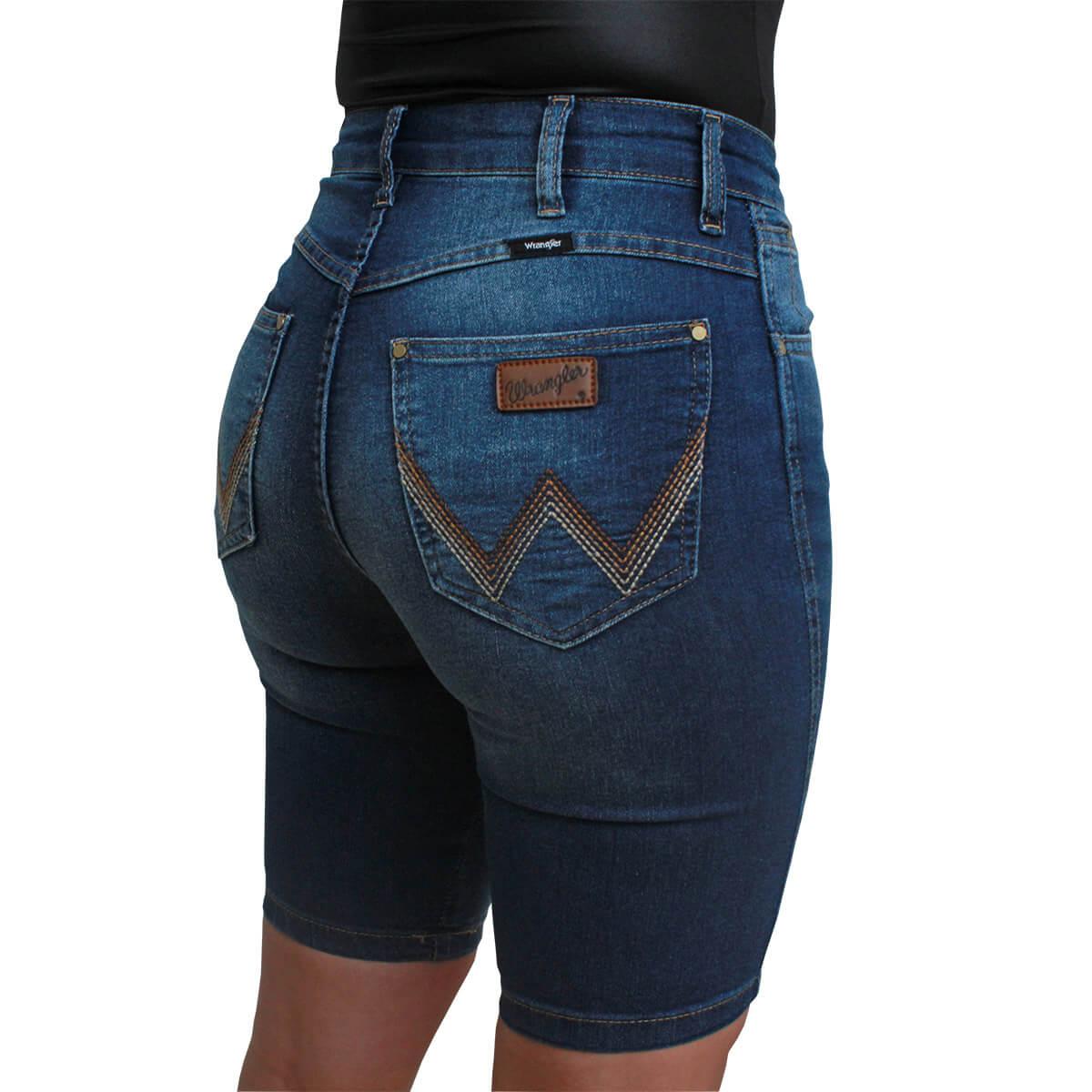 Bermuda Wrangler Jeans Feminina Cos Alto