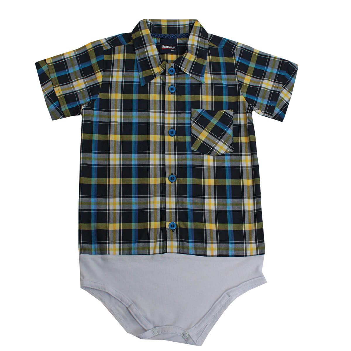 Body De Bebê Kenttana Masculino Curta Xadrez Azul Marinho E Amarelo