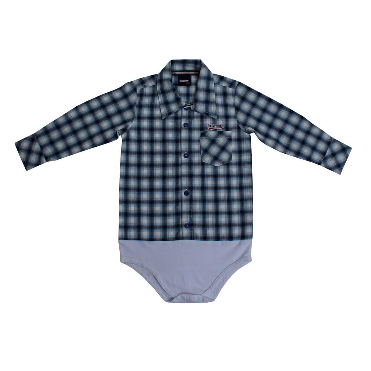 Body De Bebê Kenttana Masculino Longa Xadrez Azul E Preto