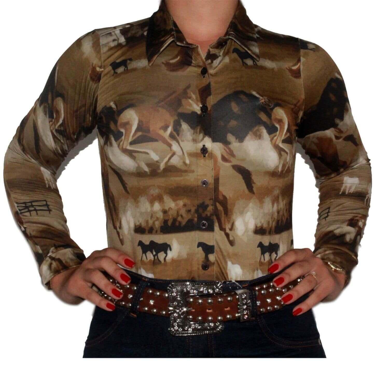 Body Feminino Marrom Ride Horse