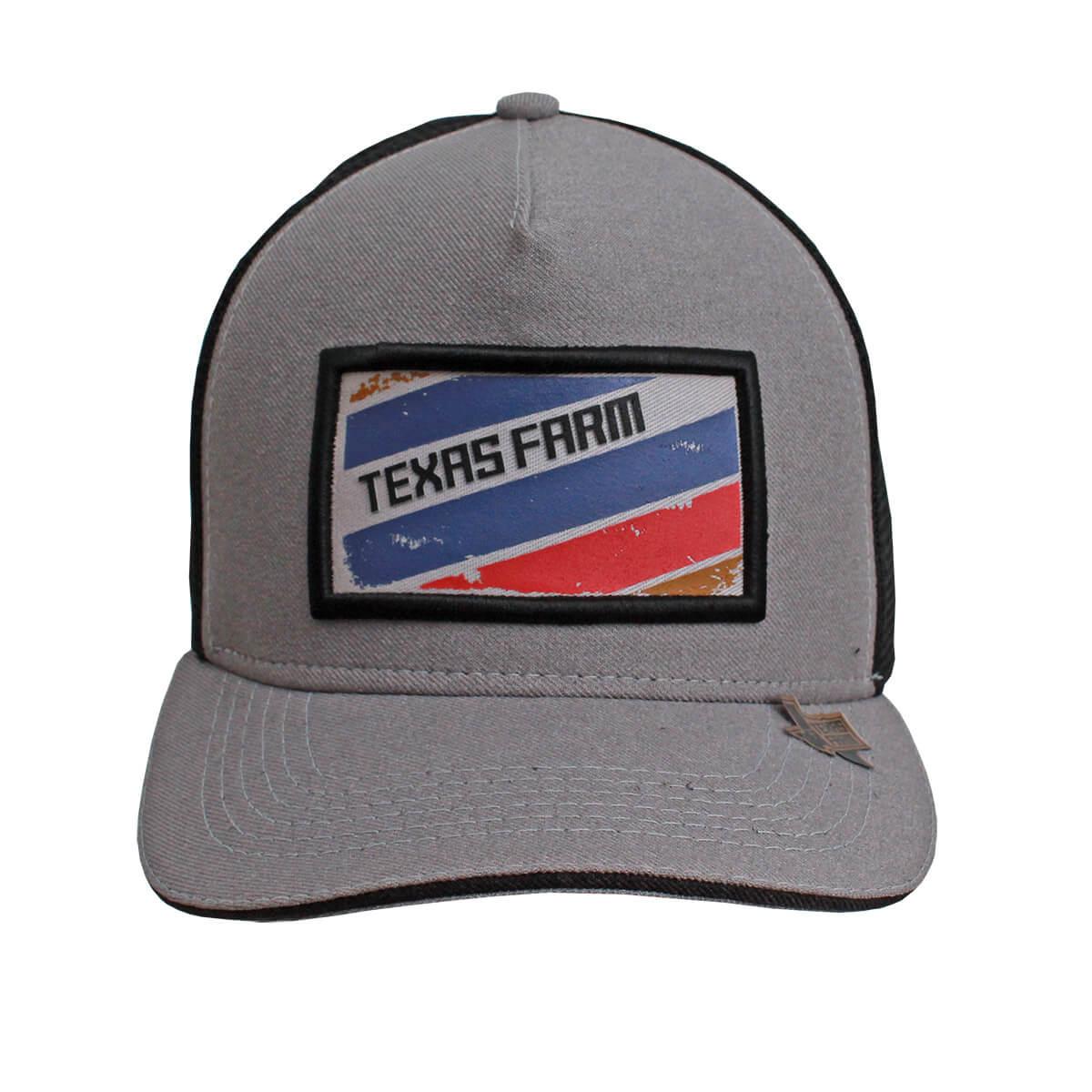 Boné Texas Farm Cinza Tela Preto