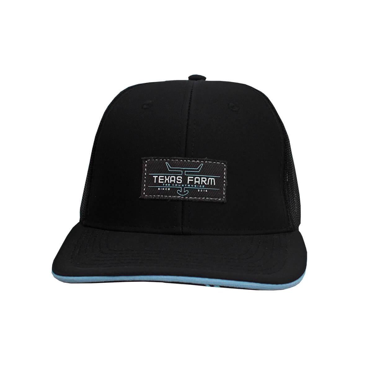 Boné Texas Farm Masculino Preto Com Tela Logo Azul