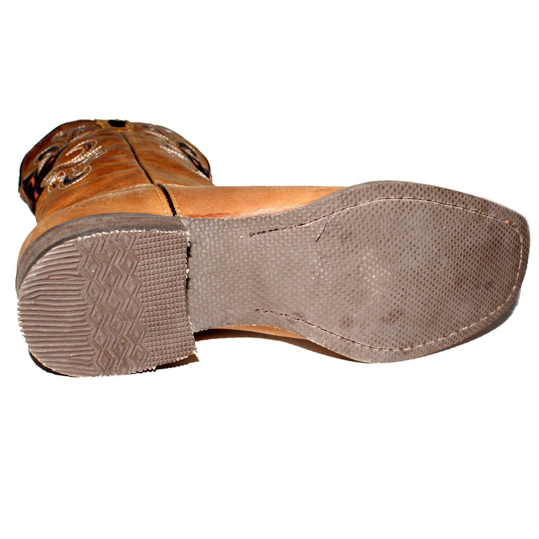 Bota Vimar Boots Feminina Couro Caramelo Preto