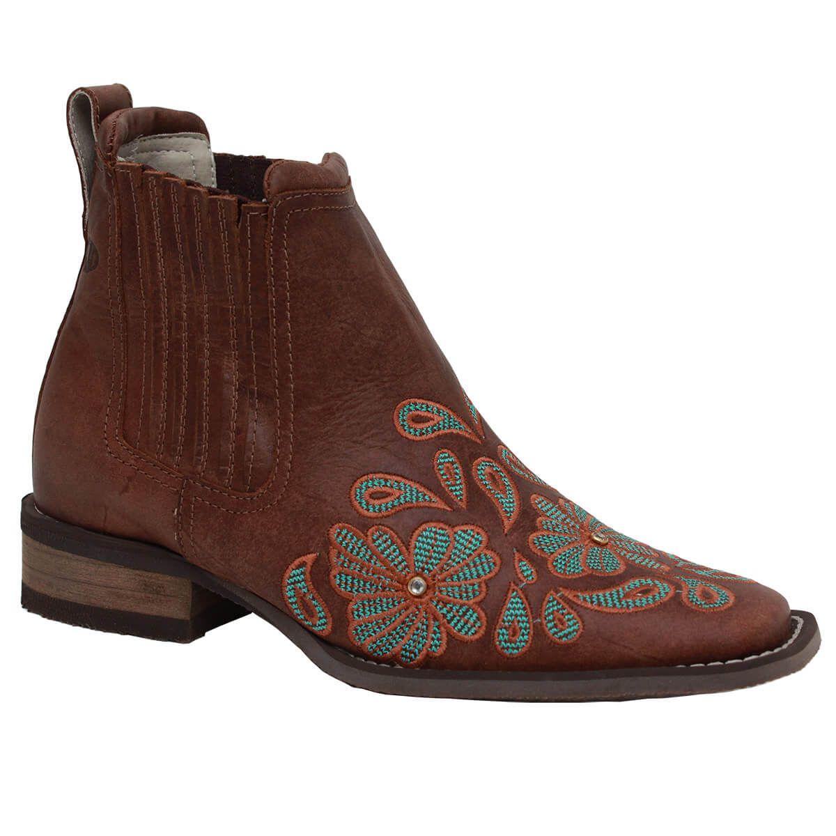 Botina Vimar Boots Feminina Dallas Castor Bordada
