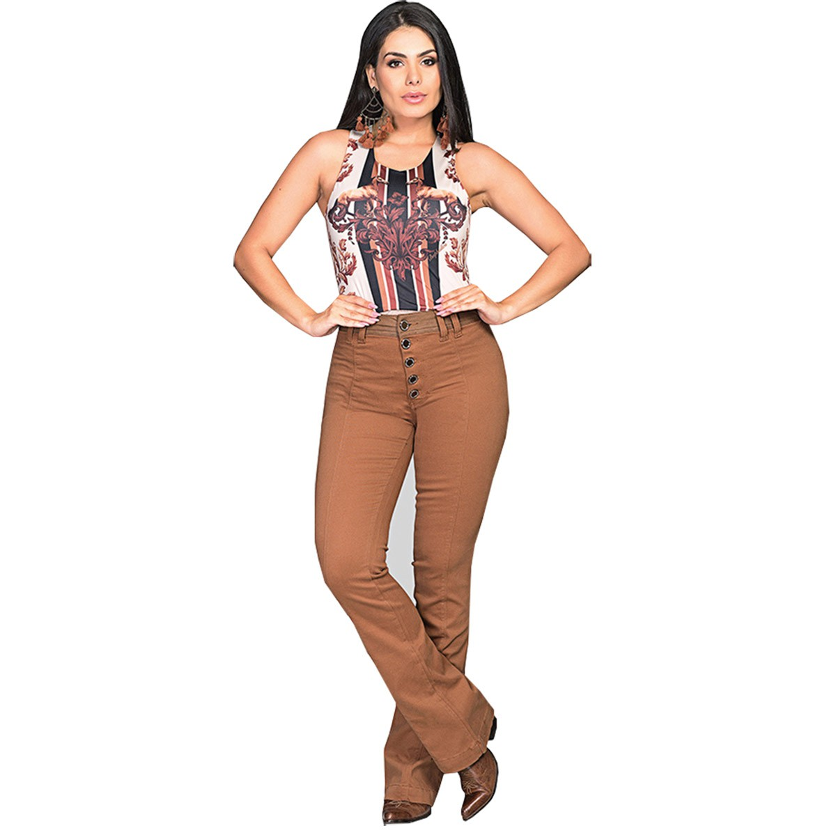 Calça Buphallos Jeans Bootcut Flare Caramelo
