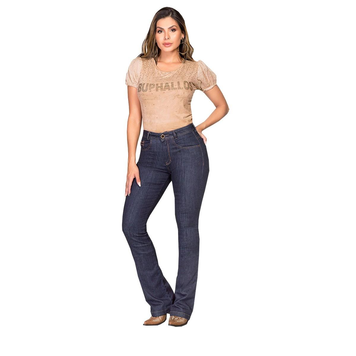 Calça Buphallos Jeans Flare Amaciada Com Bordado No Bolso