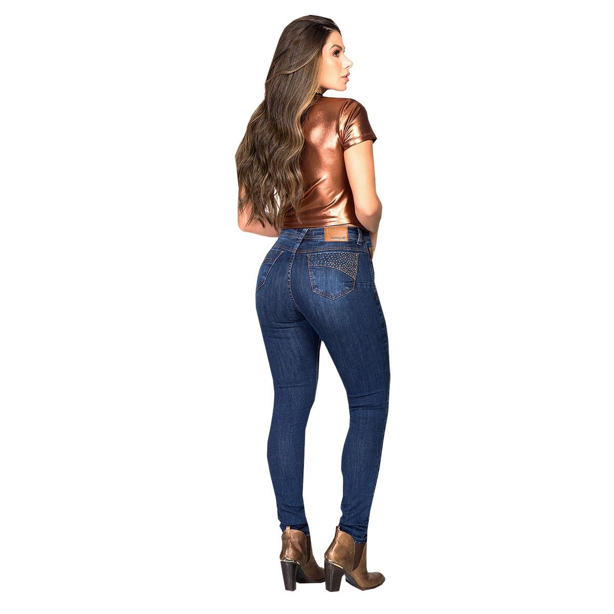 Calça Buphallos Jeans Skinny Com Taxas No Bolso