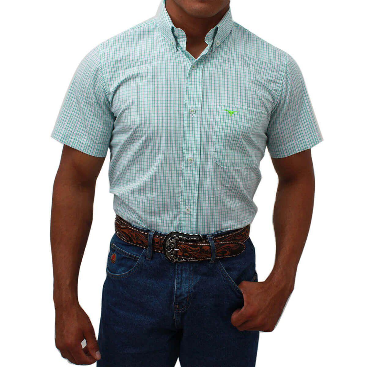 Camisa All Hunter Manga Curta Xadrez Verde - Arena Country Echaporã 9b21ab27f17