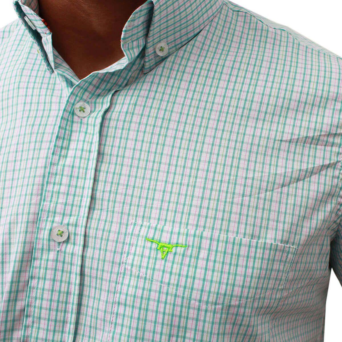 Camisa All Hunter Manga Curta Xadrez Verde