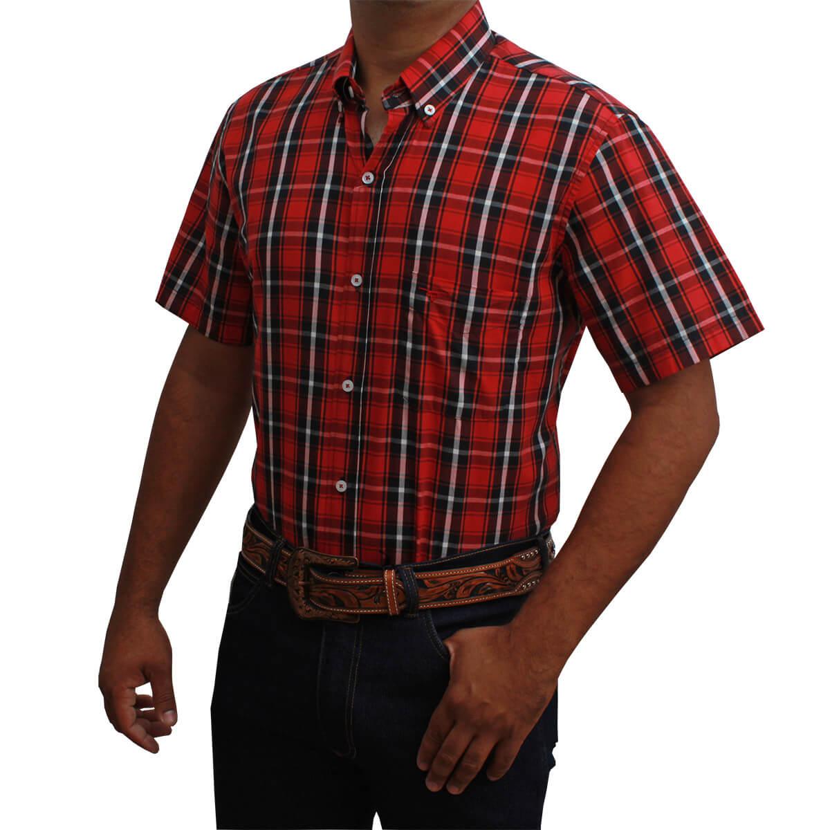 Camisa All Hunter Masculina Xadrez Vermelho E Preto
