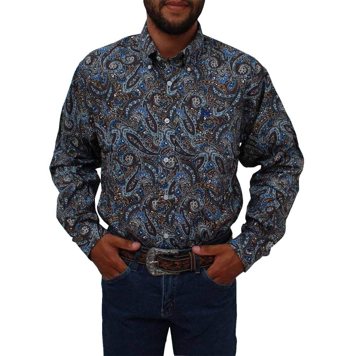 Camisa Cinch Masculina Importada Azul e Marrom