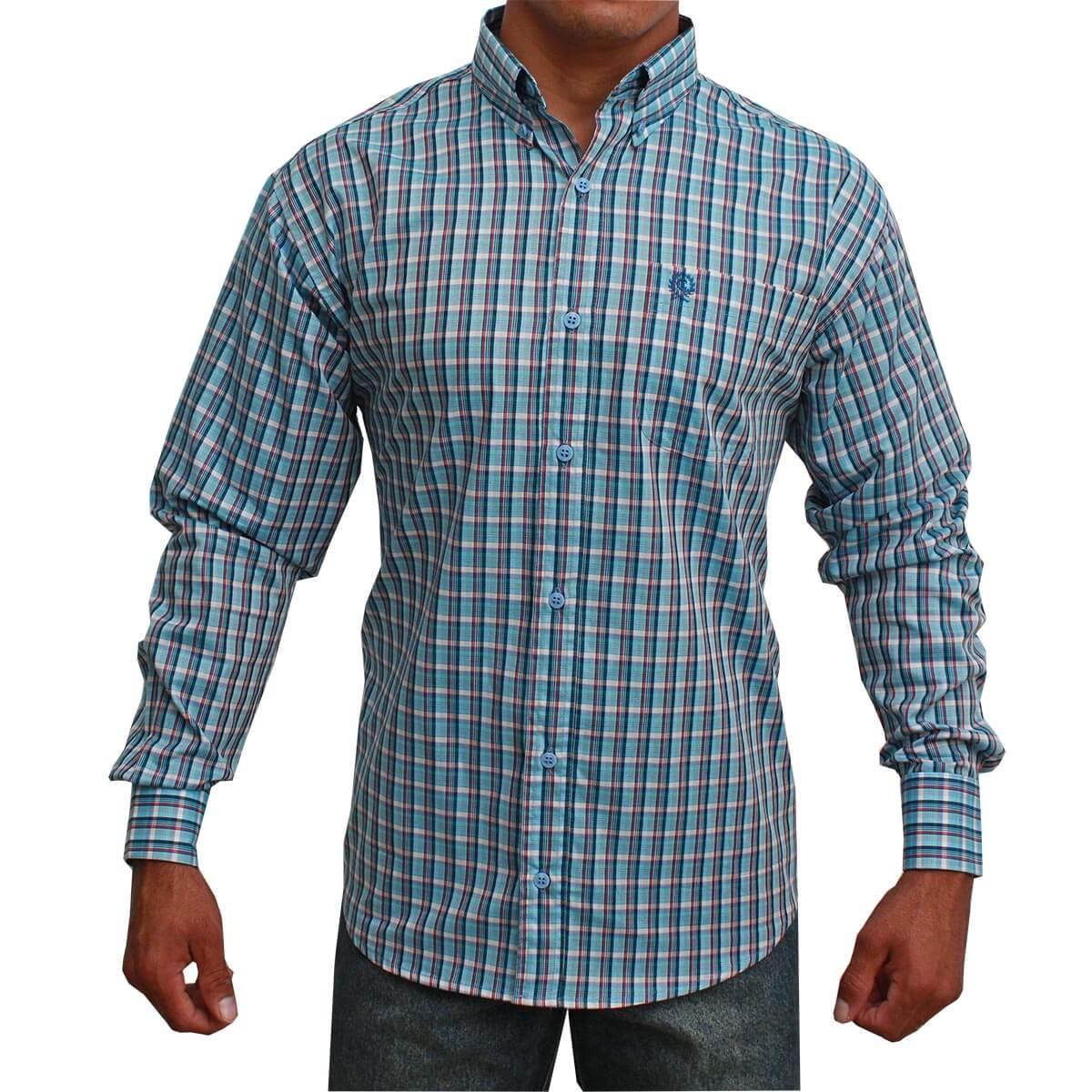Camisa Classic Masculina Xadrez Azul E Vermelho